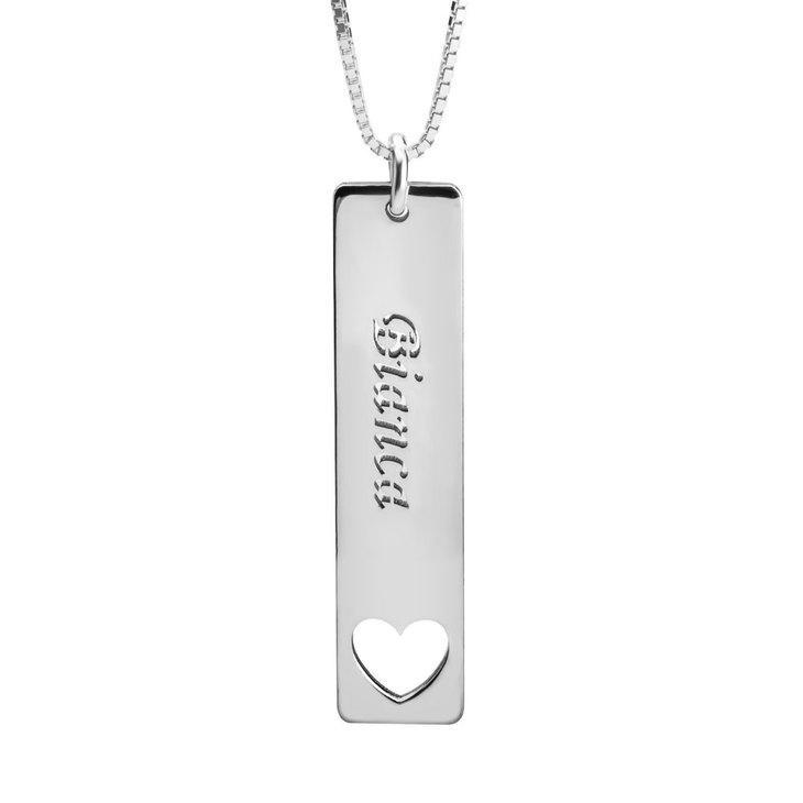"925 Sterling Silver Personalized Vertical Name Bar Necklace With Heart Adjustable 16""-20"""