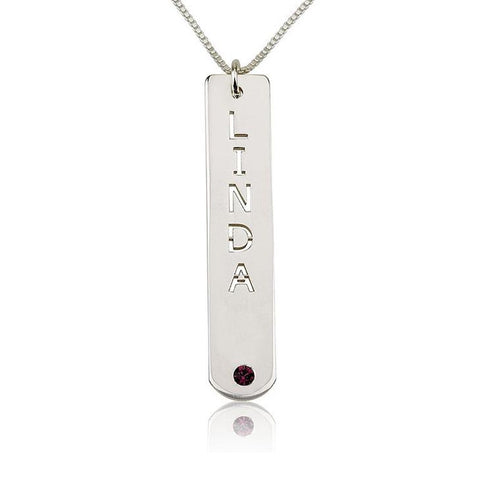 "925 Sterling Silver Personalized Vertical Bar Necklace with Birthstone Adjustable 16""-20"""