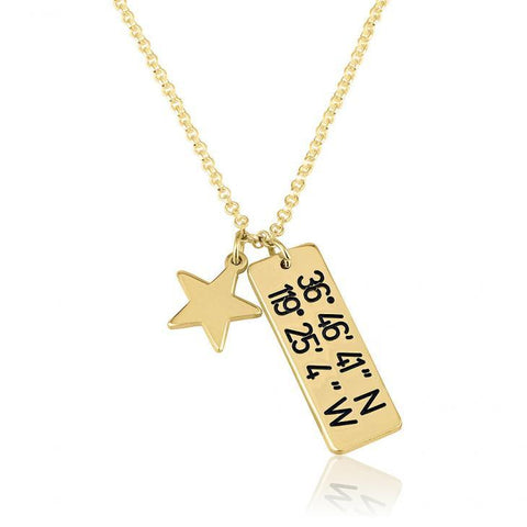 "925 Sterling Silver Personalized Vertical Coordinates Necklace With Star Adjustable 16""-20"""