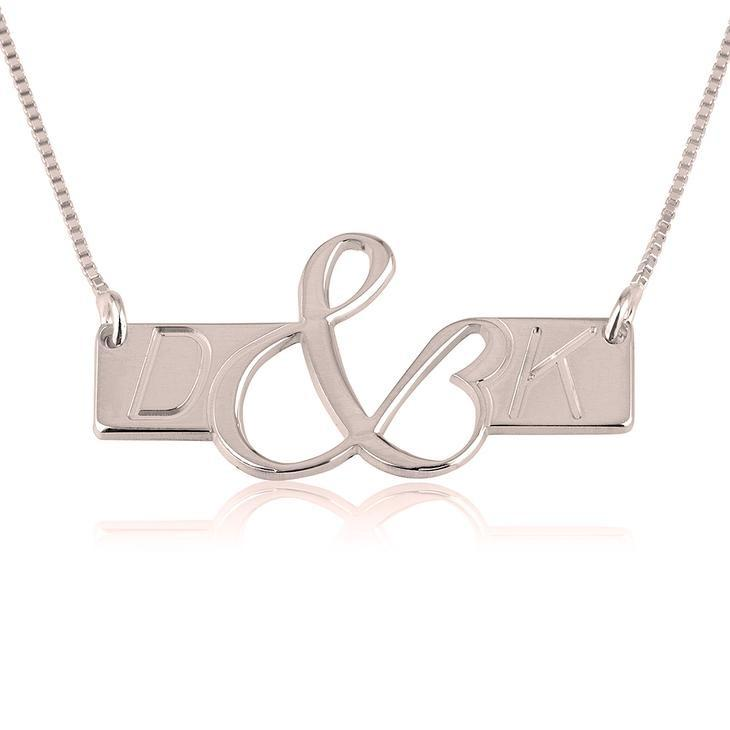 "925 Sterling Silver Personalized Initials Love Bar Necklace Adjustable 16""-20"""