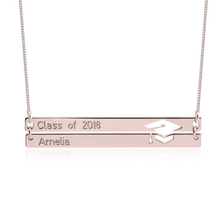 "925 Sterling Silver Personalized Personalized Graduation Necklace Adjustable 16""-20"""