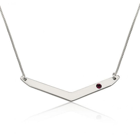 "925 Sterling Silver Personalized Chevron Necklace with Birthstone Necklace Adjustable 16""-20"""