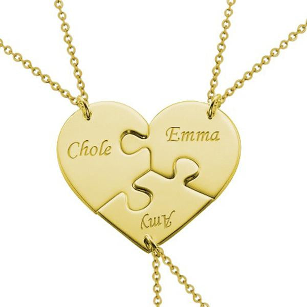 "925 Sterling Silver Personalized 3 Pieces Puzzle Engraved Necklace For a Heart Adjustable 16""-20"""
