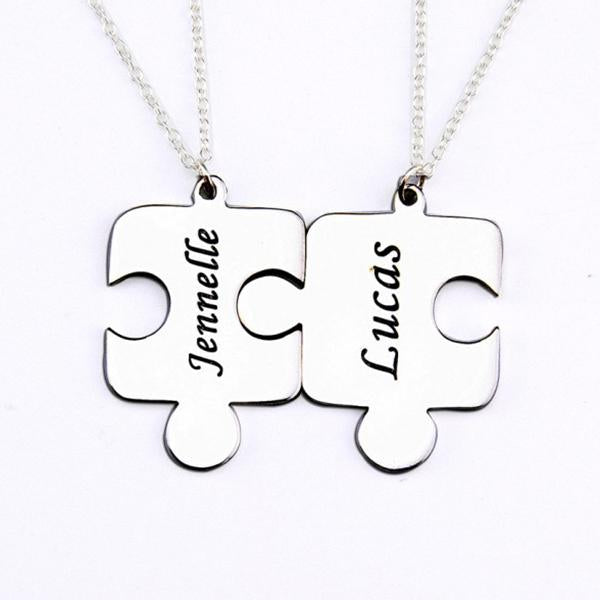 "925 Sterling Silver Personalized 2 Pieces Puzzle Engraved Necklace Adjustable 16""-20"