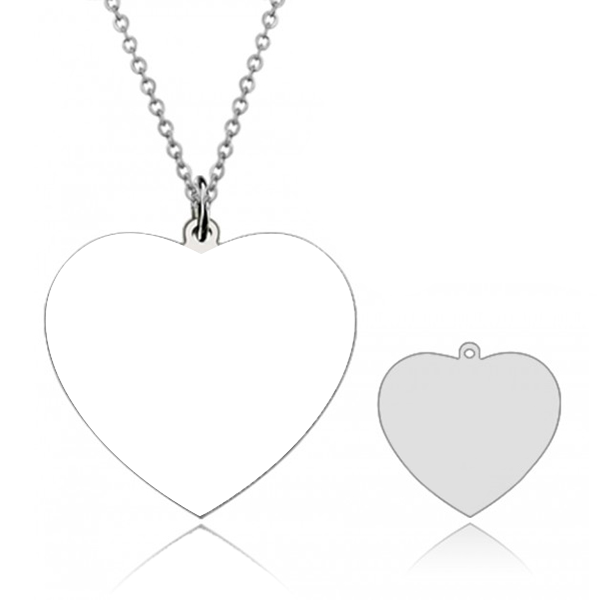 "925 Sterling Silver  Personalized Heart Engraved Photo Necklace Adjustable 16""-20"""