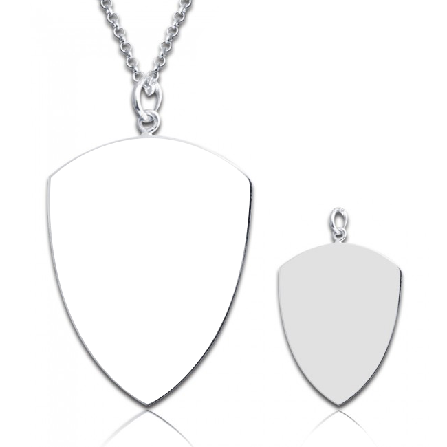 "925 Sterling Silver Personalized Shield Engraved Photo Necklace Adjustable 16""-20"" - 925 Sterling Silver OEM And Customization"