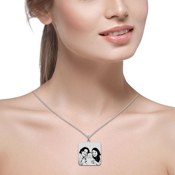 "925 Sterling Silver Personalized Square Engraved Photo Necklace Adjustable 16""-20"""