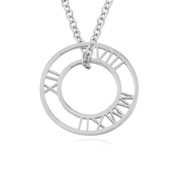 "925 Sterling Silver Personalized Circle Roman Numeral Necklace Adjustable 16""-20"""