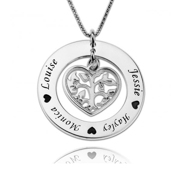 "925 Sterling Silver Personalized Family Tree Necklace With Heart For Mothers Adjustable 16""-20"""