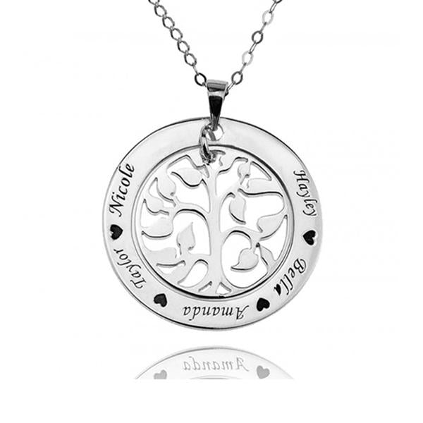 "925 Sterling Silver Personalized Family Tree Necklace With Any Name Engraved Adjustable 16""-20"""