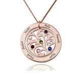"925 Sterling Silver Personalized Circle Engraved Family Tree Necklace with Birthstones Adjustable 16""-20"" - 925 Sterling Silver OEM And Customization"