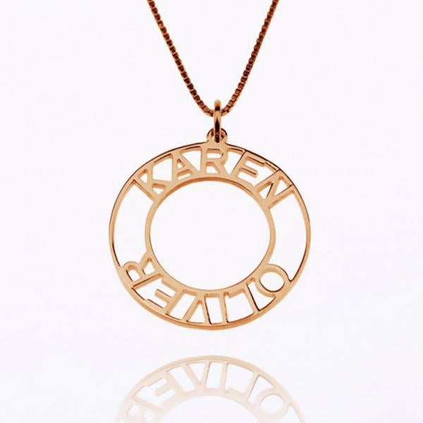 "925 Sterling Silver/Copper/Steel Personalized Circle Name Necklace Adjustable 16""-20"""