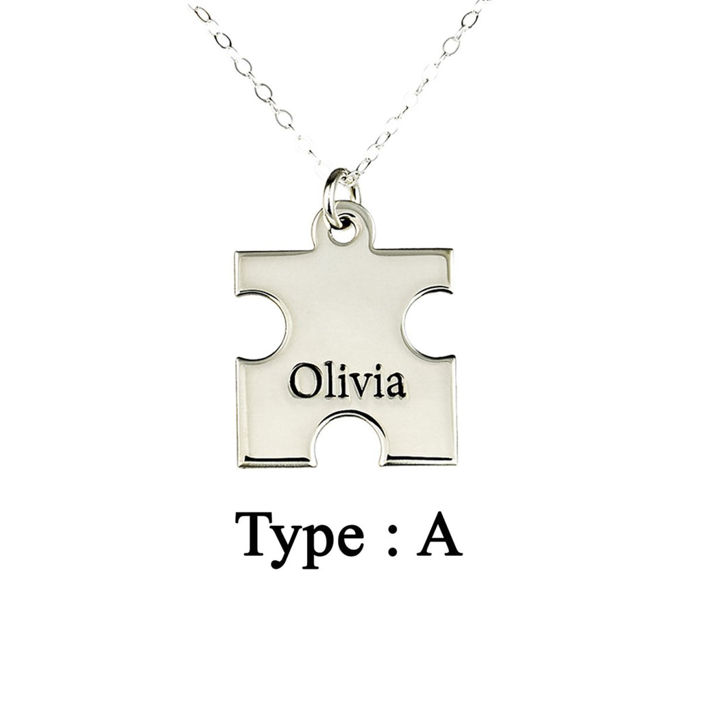 "925 Sterling Silver Personalized Puzzle Engraved Necklace Adjustable 16""-20"""