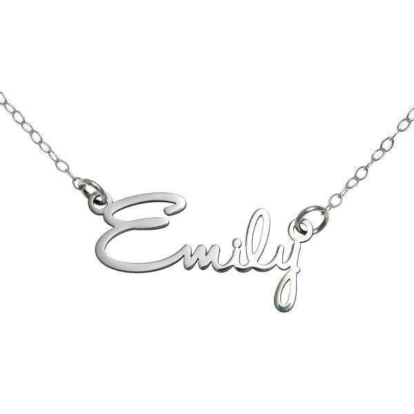 "925 Sterling Silver Personalized Script Name Necklace Adjustable 16""-20"""