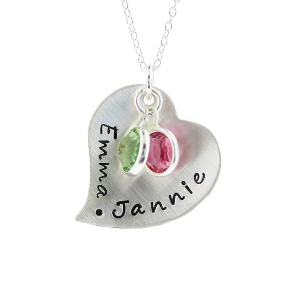 "925 Sterling Silver Personalized Heart Pendant Necklace Adjustable 16""-20"""