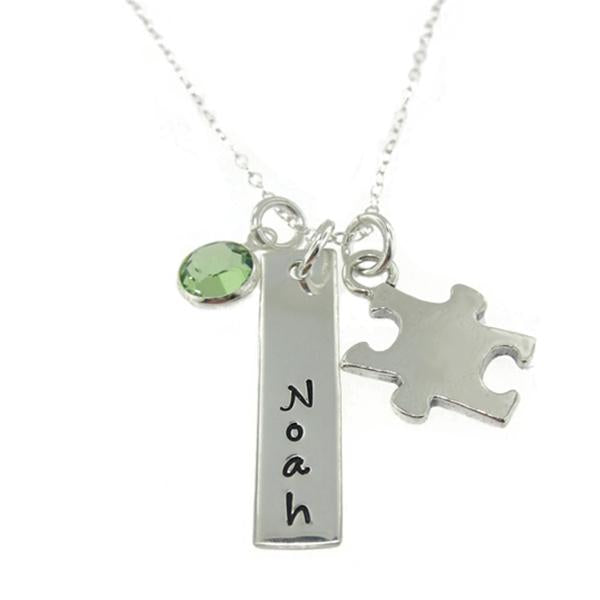 "925 Sterling Silver Personalized Birthstone Bar Engraved Necklace With A Puzzle Charm Adjustable 16""-20"""