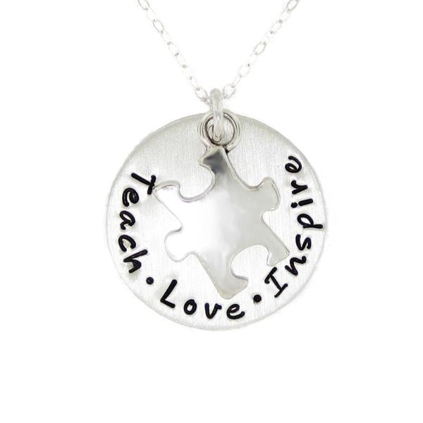 "925 Sterling Silver Personalized Round Necklace With A Puzzle Charm Adjustable 16""-20"""