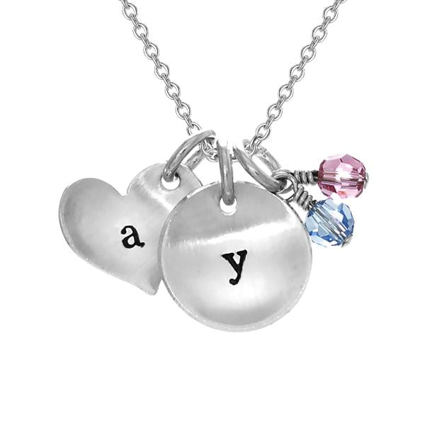 "925 Sterling Silver Personalized Double Charm Creative Engraved Necklace Adjustable 16""-20"""