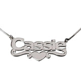 "925 Sterling Silver Personalized Middle Heart & Swirl Name Necklace Adjustable 16""-20"""