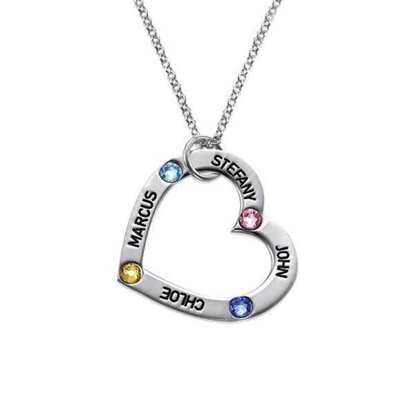 "925 Sterling Silver/Copper/Steel Personalized Birthstone Heart Necklace Adjustable 16""-20"""
