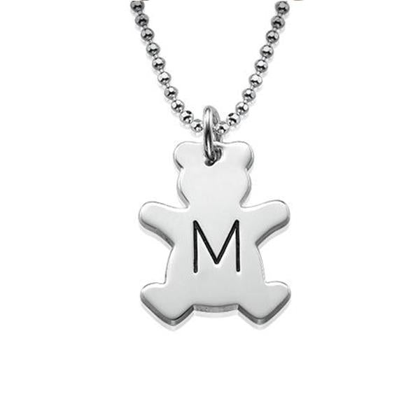 "925 Sterling Silver Personalized Teddy Bear Necklace with Initial Adjustable 16""-20"" - 925 Sterling Silver OEM And Customization"