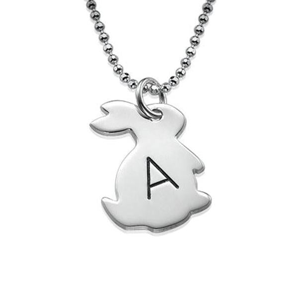 "925 Sterling Silver Personalized Tiny Rabbit Necklace with Initial Adjustable 16""-20"""