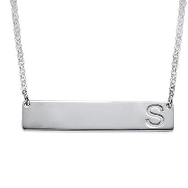 Personalized Initial Engraved Bar Necklace
