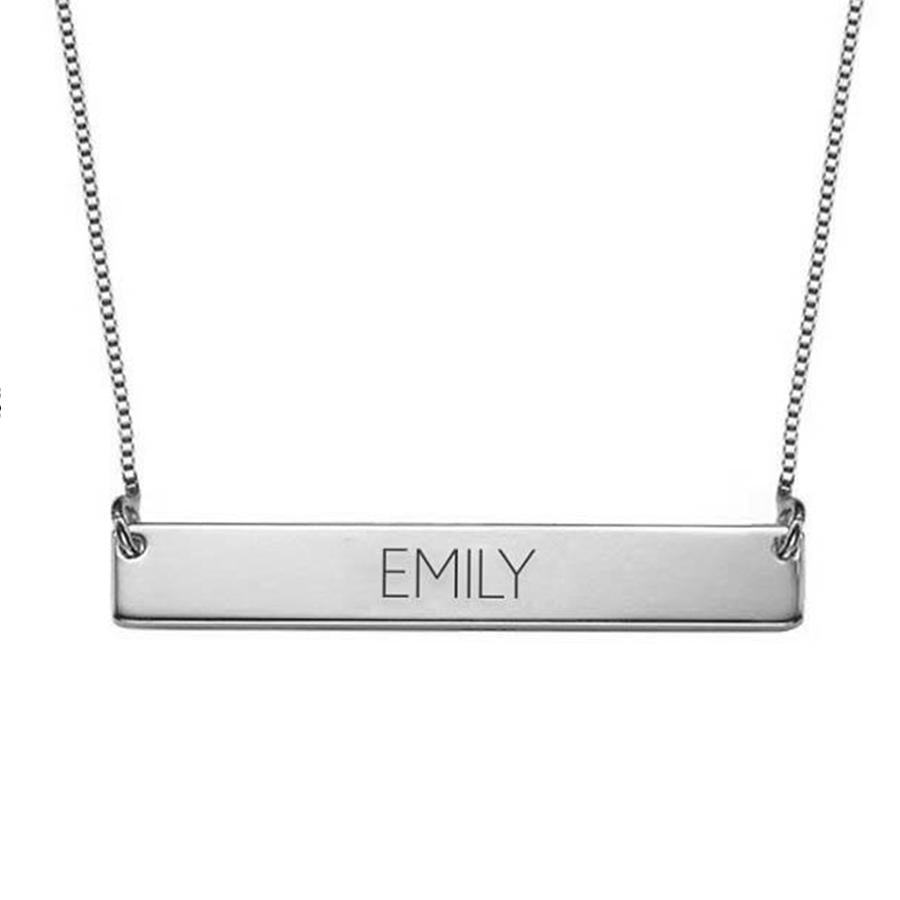 "925 Sterling Silver Personalized Bar Name Necklace Adjustable 16""-20"""