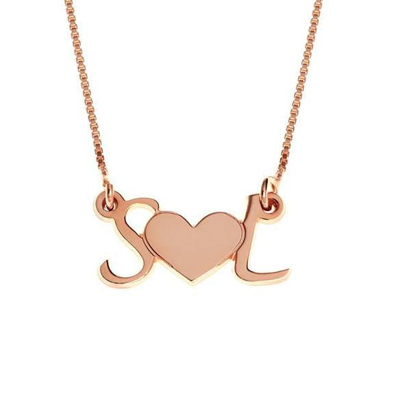 "925 Sterling Silver Personalized Initial Heart Necklace Adjustable 16""-20"" - 925 Sterling Silver OEM And Customization"