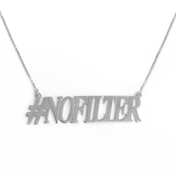 "925 Sterling Silver Personalized Hashtag NOFILTER Necklace Adjustable 16""-20"""