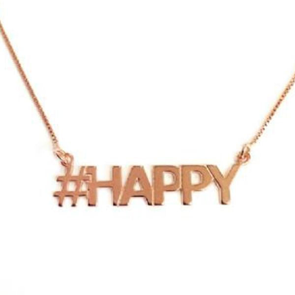 "925 Sterling Silver Personalized Hashtag HAPPY Necklace Adjustable 16""-20"""