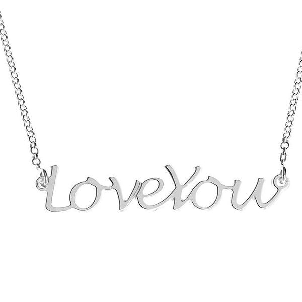 "925 Sterling Silver Personalized Handwritten Love You Necklace Adjustable 16""-20"""