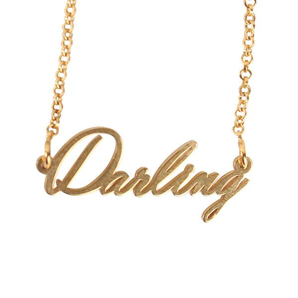 "925 Sterling Silver Personalized Darling Name Necklace Adjustable 16""-20"""