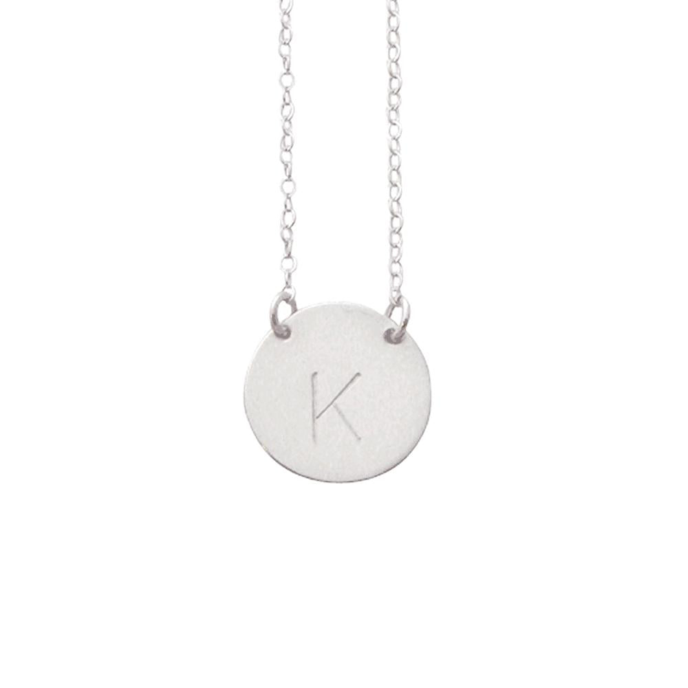 "925 Sterling Silver Personalized Large Initial Necklace Adjustable 16""-20"""