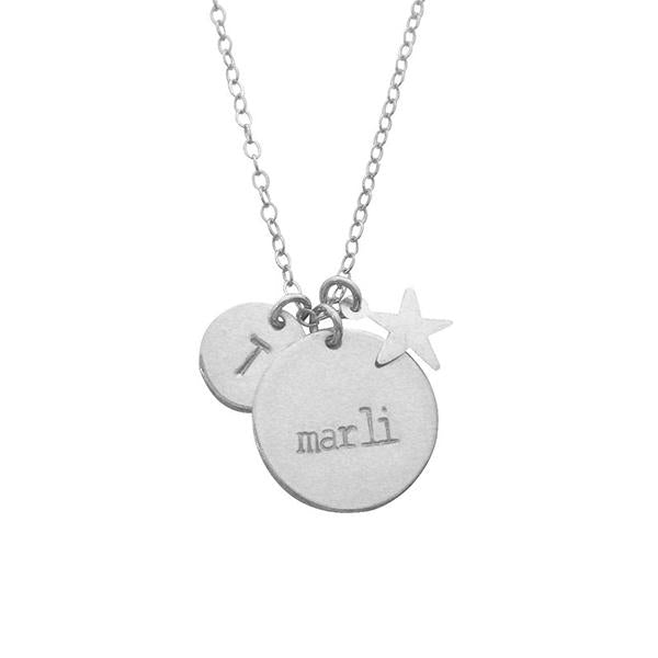 "925 Sterling Silver Personalized Double Disc and Star Charm Necklace Adjustable 16""-20"""