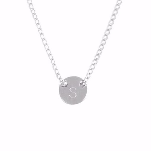 925 Sterling Silver Personalized Fine Chain Through Tiny Disc Necklace Adjustable 16-20""