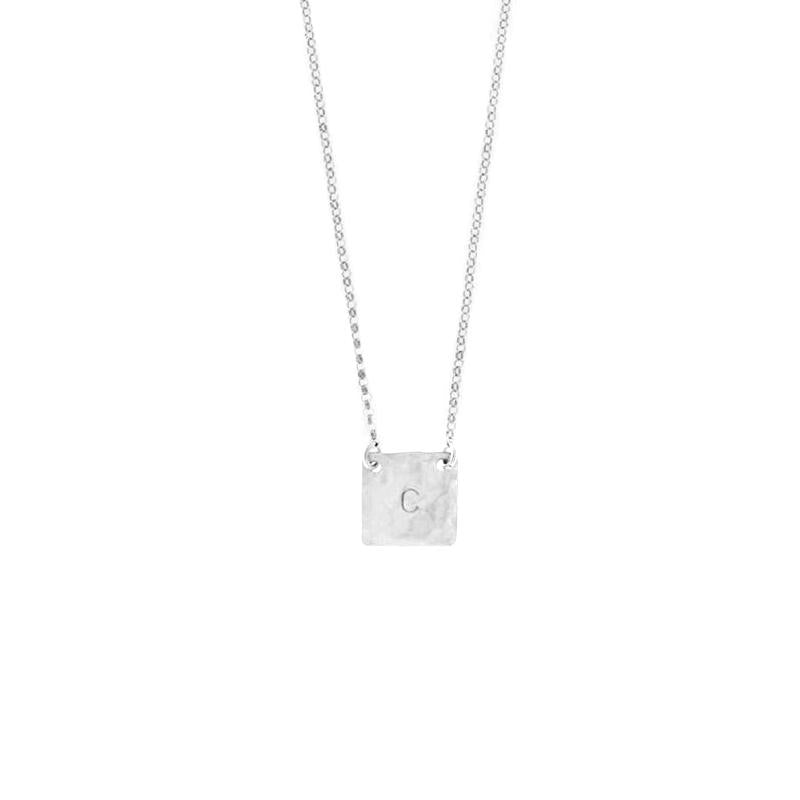 "925 Sterling Silver Personalized Square Initial Necklace Adjustable 16""-20"""