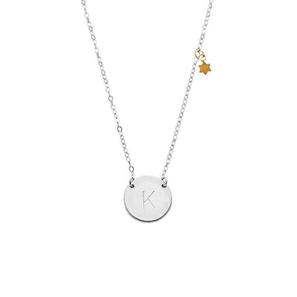 "925 Sterling Silver Personalized Initial Necklace with Mini Star Adjustable 16""-20"""
