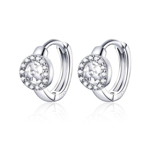 925 Sterling Silver Earrings with Stars Bling Cubic Zircons Popular Style Huggie Hoops
