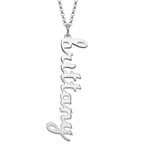 "925 Sterling Silver/Copper/Steel Personalized Vertical Lowercase Script Name Necklace Adjustable Chain 16""-20"""