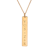 "14K Gold Personalized Vertical Nameplate Necklace Adjustable 16""+2"""