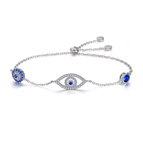 925 Sterling Silver Adjustable Lucky Blue Evil Eye Chain Bracelet With Sparkling Cubic Zirconia for Women