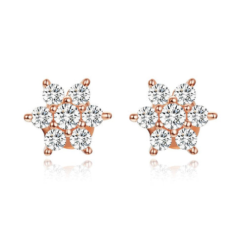 925 Sterling silver  Zirconia  Rose Gold Plated  Flower Stud  Earrings for Women Fashion Jewelry
