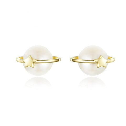 925 Sterling silver Starry Cultured Freshwater Pearl  Yellow Gold Pated Stud Earrings