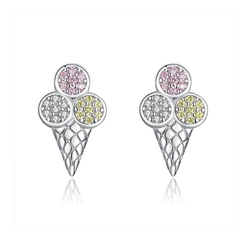 925 Sterling Silver Cute Small Ice Cream  Stud Earrings
