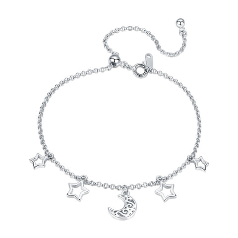 925 Sterling Silver  Elegant Stars & Moons Link Charm Bracelet Adjustable Hand Chain