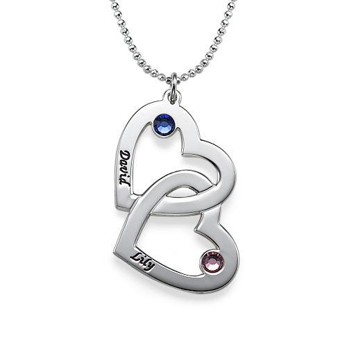 925 Sterling Silver Personalized Heart in Heart Necklace with Birthstones