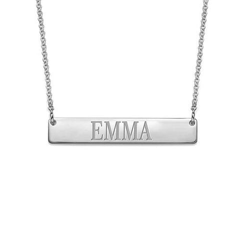 "925 Sterling Silver Personalized Engraved Bar Necklace Adjustable 16""-20"""