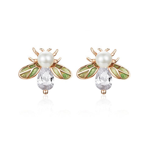 S925 Sterling silver Crystal Pearl Cute Honeybee Stud Earrings for Women