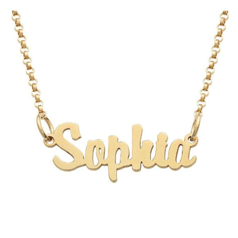 """Sophia""-Copper/Stainless steel/925 Sterling Silver Personalized Mini Name Necklace Adjustable Chain 16""-20"""
